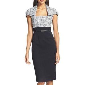 Black halo tweed sheath dress